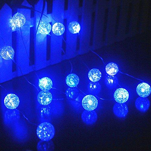 Ryham LED Lichterkette Batterie für den Innen-Außen 16 LED 7.38ft 2.25m Fairy Globe Blase Dekor Beleuchtung für Outdoor Indoor Patio-Party Vorhang Schlafzimmer Weihnachten Saisondekorationen,blau (Halloween Rasen Dekor)