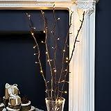 strombetriebene, beleuchtete, Herbst/Winter-Deko, 5 Zweige Weide Braun, 90cm, mit 50 LEDs in warmweiß (Braun) - 6