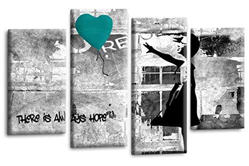 Le Reve Canvas Art Banksy Leinwandbild, Motiv: Mädchen mit Luftballon, Peace Hope Love Graffiti, Blaugrün