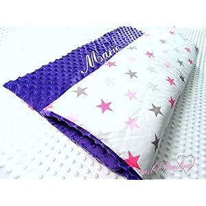 ★ Sterne Babydecke mit kuscheligen violett Plüsh Minky, Personalisierung mög.