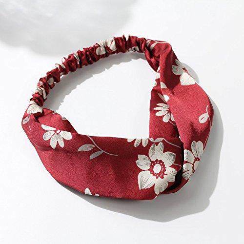 MultiKing Stirnband Kopfschmuck Stirnband Stoff Satin Flower Print breites Kreuz Kreuz Haar Stirnband Koreanischen einfache Stirnband, rot -