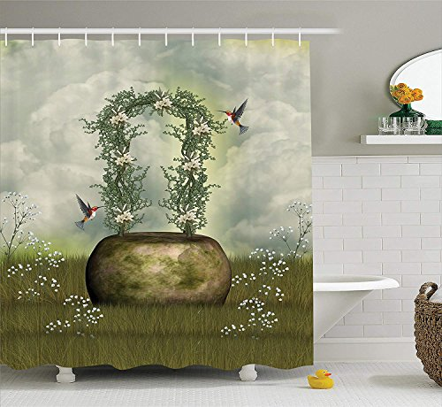 Hummingbirds Decorations Collection, Fairytale Scene with Flowers Stone and Hummingbird Wildflower Arch Cloudy Sky Print, Polyester Fabric Bathroom Shower Curtain, 84 Inches Extra Long, Gray -