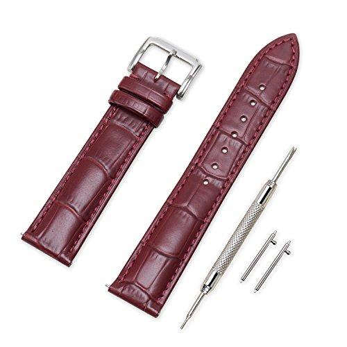 VINBAND Unisex Leder Uhrenarmband mit Edelstahl Silberne Schnalle 24mm Dunkelrot