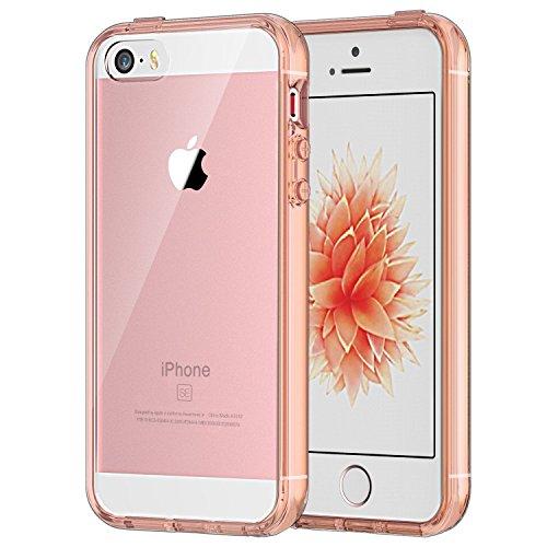 JETech Coque iPhone SE iPhone 5s iPhone 5 Transparent et Résistant Aux Rayures, Rose Or
