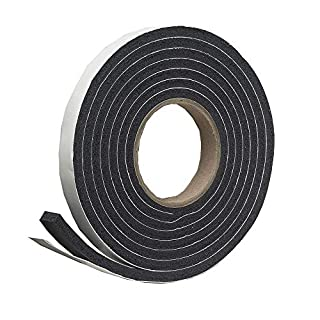 Jumbo Rubber Foam Weatherstrip Draught Excluder, Extra Wide 19mm + Extra Thick 11mm Draft Excluder for Larger Gaps, 6 m Black