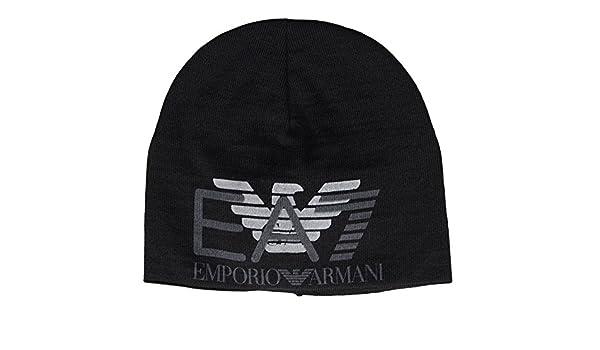 EA7 by Emporio Armani Train Eagle Printed Black Beanie Hat S  Amazon.co.uk   Clothing 6b703489ec55
