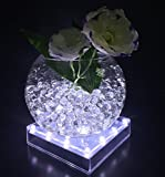 Lacgo 12,7cm Acrylique carré LED Éclairage de plaque, 16LEDs Vase Base lumière pour mariage, fête, maison Décoration de table