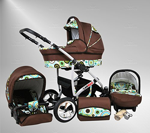True Love Larmax Kinderwagen Safety-Mega-Set (Winterfußsack, Sonnenschirm, Autositz & ISOFIX Basis, Regenschutz, Moskitonetz, Schwenkräder) 78 Schokolade & Sporty Dots