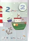 Geburtstagskarte zum 2. Geburtstag Schiff und Leuchtturm