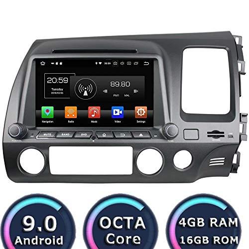 Indash 2Din 8 Zoll Android 9.0 Auto Multimedia Für Honda Civic Rechtslenker 2006 2007 2008 2009 2010 2011 Autoradio Stereo GPS Navigation 3G WiFi Spiegel Link RDS FM AM Honda Civic Factory Radio