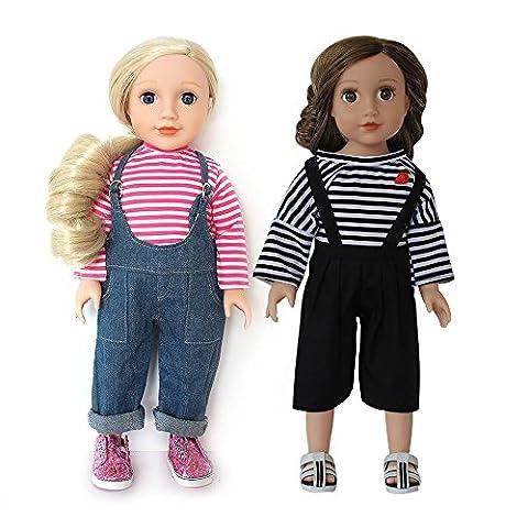Farvision Girl® Design exclusif Cowgirl Bandoulière Pantalon T-shirt kit pour 45,7cm poupée American Girl AG, Excellent rapport qualité/prix Tenue Set-2Lot