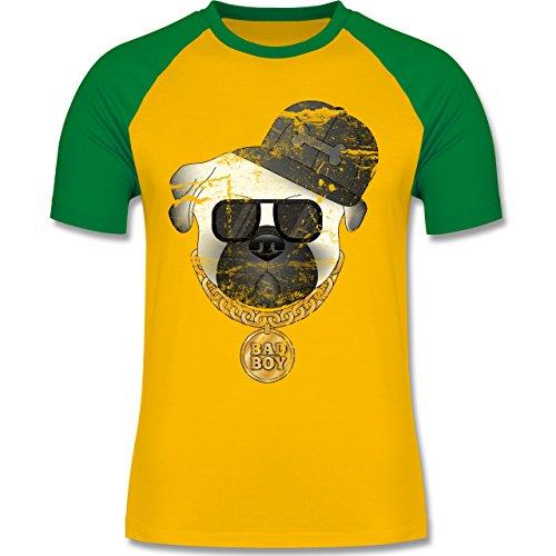 Hunde - Bad Boy Mops Vintage - zweifarbiges Baseballshirt für Männer  Gelb/Grün