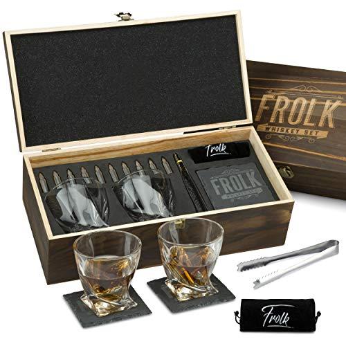 Premium Whiskey Stones Bullets Geschenkset für Herren - 10 Bullets Chilling Edelstahl Whiskey Rocks - 312 ml 2 große gedrehte Whiskey Gläser, Schieferuntersetzer, Zange - Luxus Set in Echtholz Box