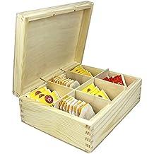Caja de madera té botes por net4client ® Buena calidad pura madera tarros para té, café y azúcar es una de las pequeñas cajas de almacenamiento Ideal para rápido taza de té