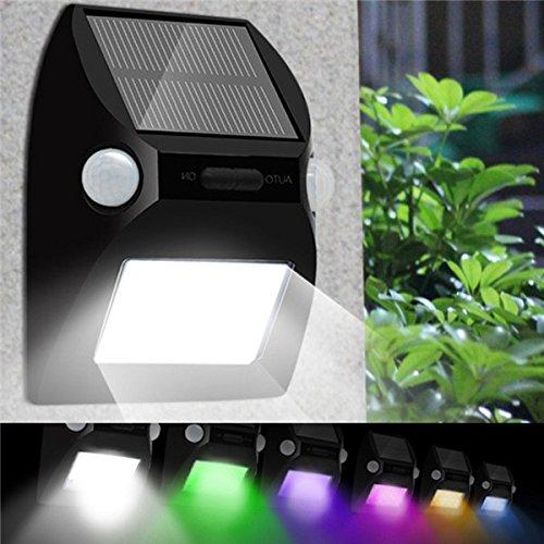 MASUNN Dual-Head-Motion-Sensor Solar Powered 12Led Wand Licht 7 Farbe Ändern Outdoor Wasserdichte Lampe (Solar Dual-head)