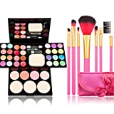 Time Song Professional Cosmetic Makeup Palette Fard à Paupières Set Kit include : & Blusher & Face Powder & Lip Gloss) + Makeup Brushes Set (7pcs rose Brushes) by Time Song