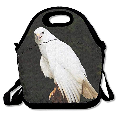 fengxutongxue Albino White Hawk Printed Portable Lunch Bag Carry Case Tote with Zipper Strap Box Cooler Container Bags Picnic Outdoor Travel Fashionable Handbag Pouch for Women Men Kids Girls