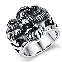 JewelryWe Stainless Steel Mens Biker Gothic Vintage Eagle Hawk Ring Engagement Wedding Band, Colour Silver Black (P)