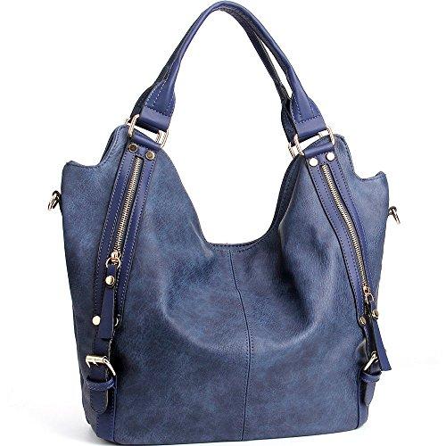 iYaffa Handtaschen Damen Taschen Schultertaschen Umhängetaschen Handtaschen für Frauen PU Leder Tote Hobo Taschen Damen Henkeltaschen Groß (L:31CM * H:36CM * W:15CM) Blau