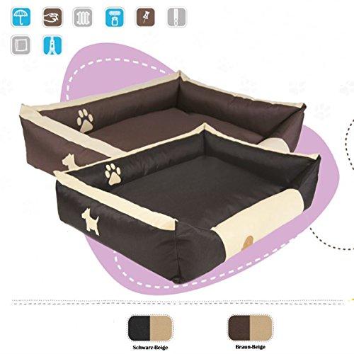 Hundebett Codura Lederbesatz Luxus Hundebett Hundesofa Katzenbett Hundekorb Jimmi S M L XL XXL (S ( ca. 65x55cm ), Schwarz-beige)