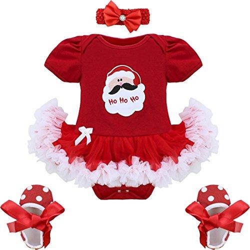 yizyif My First Christmas Tree Santa Jumpsuit Mädchen Tutu Outfit Baby Kleidung Kleidung, Set Gr. 62,  - Christmas Santa Claus (Strampelanzug Kinder Santa)