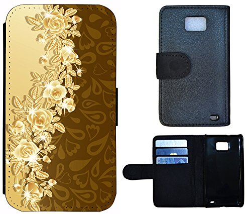 Coque Flip Cover Housse Etui Case Pour, Tissu Plastique Cuir, 1289 Skyline Nacht Blau, Apple iPhone 4 / 4s 1288 Abstract Rosen Braun Beige
