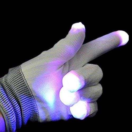 (Lesypet Bunte und 7-Mode-LED Rave Blinklicht Glow Finger-Handschuhe für Clubs, Festivals, Weihnachten, Laufen, Radfahren, Sports)
