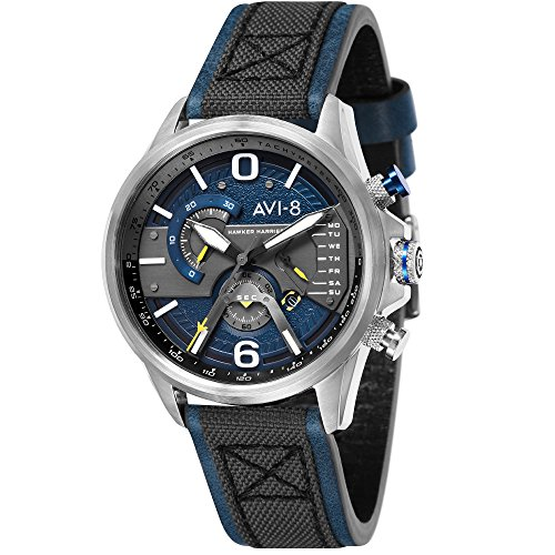 AVI-8 Hawker Harrier II Men's Watch – Chrono Day Date – Black Leather Blue Stitching Steel Casing – av-4056-01
