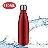 Hootracker Botella de Agua aislada al vacío de Acero Inoxidable 750ml Doble Pared Aislada al Vacío Botella Térmica Deportes al Aire Libre Camping Senderismo Ciclismo-Red