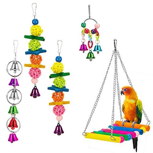 XMSSIT Uccello Altalena Amaca Toys-Parrot Campana Giocattoli per Budgie parrocchetti Cockatiels Conures Love Birds 5Confezione