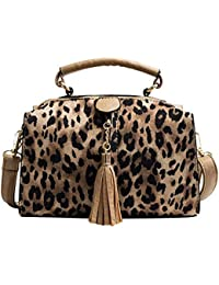 336c0bb7d3bbb3 Aediea Elegant Women Messenger Bag, Crossbody Shoulder Women Leopard  Handbags PU Leather Tassel Messenger Bag