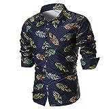 IMJONO Männer Bluse Sommer beiläufige dünne Lange Ärmel Bedruckte Shirt Top (EU-52/CN-2XL,C2-Mehrfarbig)
