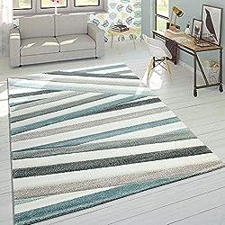 Alfombra De Diseño En Colores Pastel A Rayas Y Zigzag En Azul y Crema, tamaño: 80x150 cm
