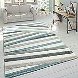 Designer Tappeto Moderno Taglio Sagomato Colori Pastello A Righe Zig Zag Blu Crema, Dimensione:80x150 cm