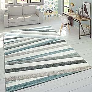 Paco Home Créateur Tapis Moderne Contours Découpés Couleurs Pastel Rayé Zigzag Bleu Crème, Dimension:60x110 cm