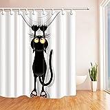 Rideaux de douche de décoration animale Par KOTOM Rideaux de douche par JAWO Rideaux de bain mignons drôles de bain de chat noir, 72X72 pouces, rideaux en jaune noir, 69X70 pouces