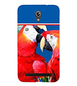 Pair of Red Parrots 3D Hard Polycarbonate Designer Back Case Cover for Asus Zenfone Go ZC500TG (5 Inches)
