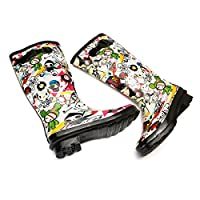 Camfosy Knee High Winter Rain Boots Waterproof Anti-Slip Wellington Boots Rubber Adjustable Buckle Shoes Flat Festival Wellies Print Boots