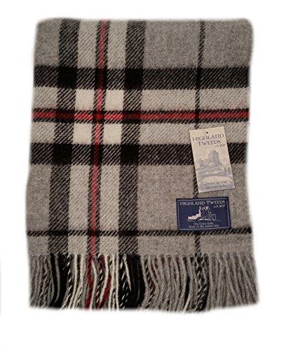 Grau Thompson Tartan Check Auto Teppich Knie–Schurwolle–Highland Tweeds