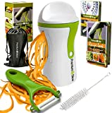 Premium Vegetable Spiralizer - Spiral Slicer Bundle - Best Zucchini Spaghetti, Pasta, Noodle Maker with Bonus Recipe Book, Peeler, Cleaning Brush, Bag