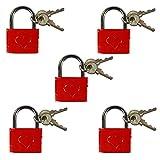 com-four 5 Liebesschlösser mit Gravur, Vorhängeschloss mit je 2 Schlüsseln (005 Stück - mit Gravur)
