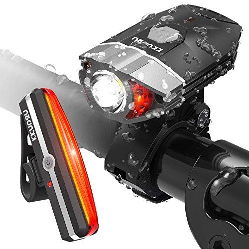 LED Fahrradbeleuchtung Set, KKUP2U USB Wiederaufladbare LED Fahrrad Licht Set, Fahrradlampe Set inkl. LED Frontlichter und Rücklicht, Superhell mit Wasserdicht, 300 Lumen, Akku USB (2× Kabel) Aufladbare Fahrradlichter, 4 Licht-Mod