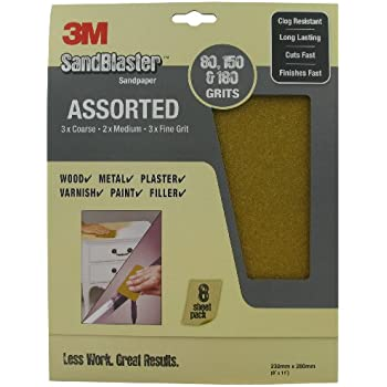 3M SandBlaster 28000 230 x 280mm Sandpaper Sheets with Assorted Grits (8 Sheets)