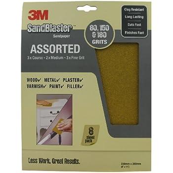 SandBlaster 3M 28000 Lot de 8 feuilles de papier de verre de différents grains 230 x 280 mm