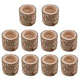 LOVIVER 10 Teiliger Natürlicher Baumstumpf Holz Kerzenhalter Teelicht Hochzeit