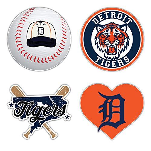 skyhighprint Tigers Baseball - Detroit Set von 4 Autoaufkleber, 12,7 cm Längere Seite