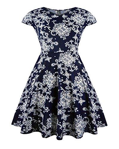 Femmes Pétale Manchon Manche Courte Rétro Col V Impression Soirée Dress Bleu Blanc