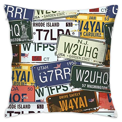 HHOWE Soft Decorative Square Throw Pillow Case Cushion Covers Original Retro Style License Plates Personalized Creative Travel Vacationfor Livingroom Bedroom with Invisible Zipper 18X18 Inch