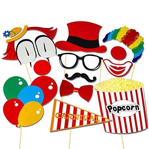 orequisiten Photo Booth Props Diy Kit Zirkusclown Cosplay für Fotografie in Karnevals-Party, Hochzeit, Geburtstagsfeier ()