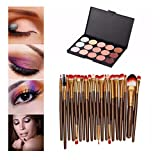 Makeup Cosmetics, Transer® 15 Colors Contour Face Cream Makeup Concealer Palette Professional Toiletries + 20 Brushes Kit Cosmetic Tools Girls Make up Brushes Set (Coffee 1)